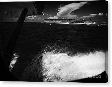 Looking Out Of Seaplane Window Landing On The Water Next To Fort Jefferson Garden Key Dry Tortugas F Canvas Print by Joe Fox