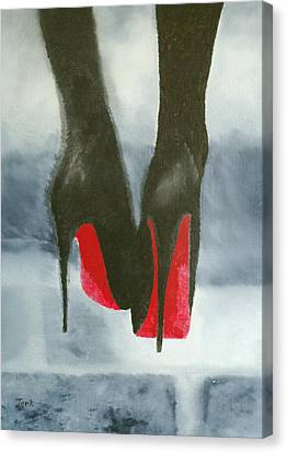 Louboutin At Midnight Canvas Print by Rebecca Jenkins