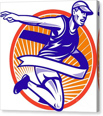 Male Marathon Runner Running Retro Woodcut Canvas Print by Aloysius Patrimonio