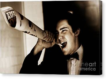 Male Reporter Making A News Press Release Canvas Print by Jorgo Photography - Wall Art Gallery