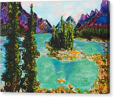 Maligne Lake Jasper Alberta Mountain Canvas Print by Joyce Sherwin