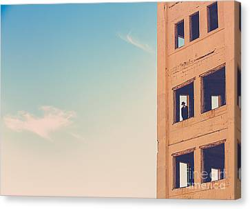 Man In An Abandoned Building Canvas Print by Diane Diederich