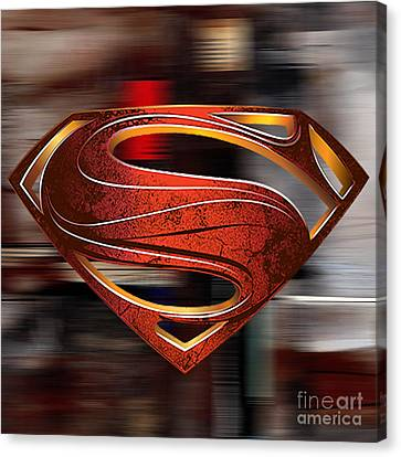 Man Of Steel Superman Canvas Print by Marvin Blaine