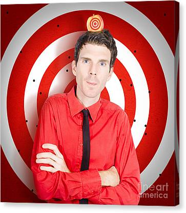 Man Standing In Front Of Target Sign With Apple Canvas Print by Jorgo Photography - Wall Art Gallery