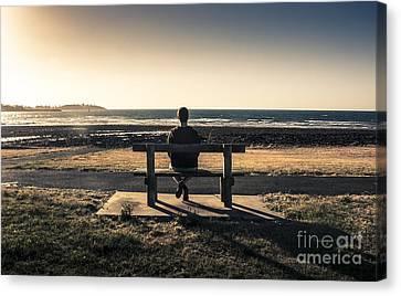 Man Watching Australian Sunset On Park Bench Canvas Print by Jorgo Photography - Wall Art Gallery