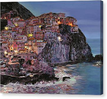 Manarola At Dusk Canvas Print by Guido Borelli
