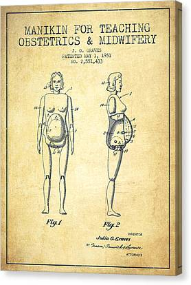 Manikin For Teaching Obstetrics And Midwifery Patent From 1951 - Canvas Print by Aged Pixel