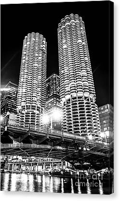 Marina City Towers At Night Black And White Picture Canvas Print by Paul Velgos
