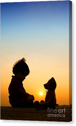 Me And My Bear Canvas Print by Tim Gainey
