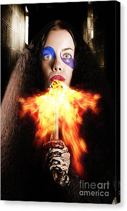 Medieval Jester Breathing Fire During Carnival Act Canvas Print by Jorgo Photography - Wall Art Gallery