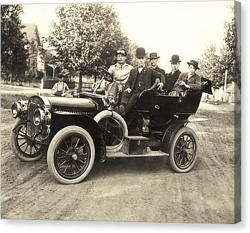 Men In An Early Auto Canvas Print by Underwood Archives