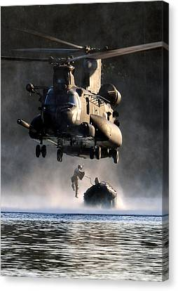 Mh-47 Chinook Helicopter Canvas Print by Celestial Images