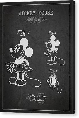 Mickey Mouse Patent Drawing From 1930 Canvas Print by Aged Pixel