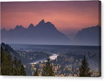 Misty Teton Sunset Canvas Print by Andrew Soundarajan