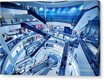 Modern Shopping Mall Interior Canvas Print by Michal Bednarek