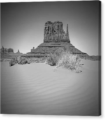 Monument Valley - West Mitten Butte Bw Canvas Print by Melanie Viola