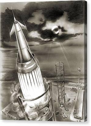 Moon Rocket Launch, 1950s Artwork Canvas Print by Detlev van Ravenswaay