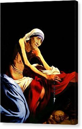 Mother Teresa Seated Nude Canvas Print by Karine Percheron-Daniels