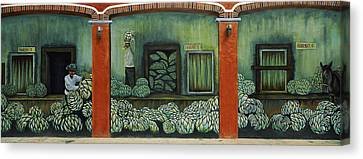 Mural On A Wall, Cancun, Yucatan, Mexico Canvas Print by Panoramic Images
