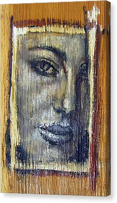 Mysterious Girl Face Portrait - Painting On The Wood Canvas Print by Nenad Cerovic