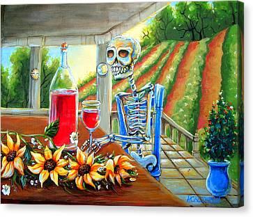 Napa Wine Skeleton Canvas Print by Heather Calderon