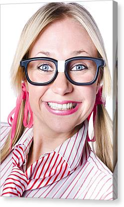 Nerdy Businesswoman With A Cheeky Grin Canvas Print by Jorgo Photography - Wall Art Gallery