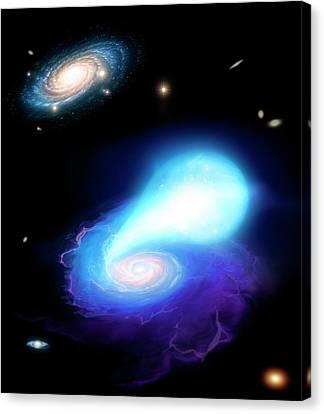 Neutron Star And White Dwarf Merging Canvas Print by Mark Garlick