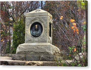 New York At Gettysburg - 140th Ny Volunteer Infantry Little Round Top Colonel Patrick O' Rorke Canvas Print by Michael Mazaika
