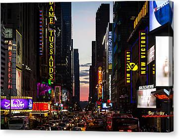 New York City At Night Canvas Print by Alexander Mendoza