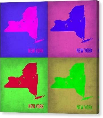 New York Pop Art Map 1 Canvas Print by Naxart Studio