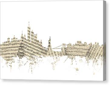 Philadelphia Pennsylvania Skyline Sheet Music Cityscape Canvas Print by Michael Tompsett