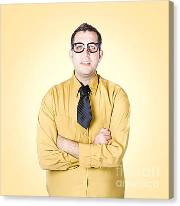 Nice Nerd Business Salesman On Yellow Background Canvas Print by Jorgo Photography - Wall Art Gallery