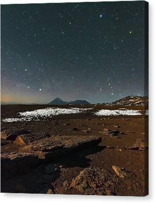 Night Sky Over The Licancabur Volcano Canvas Print by Babak Tafreshi