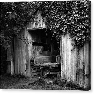 Old Barn And Wagon Canvas Print by Julie Dant