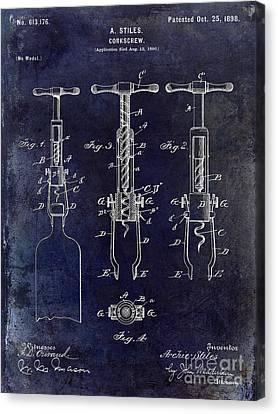 1898  Corkscrew Patent Drawing Canvas Print by Jon Neidert