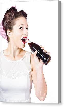 Old-fashion Pop Art Girl Drinking From Soda Bottle Canvas Print by Jorgo Photography - Wall Art Gallery