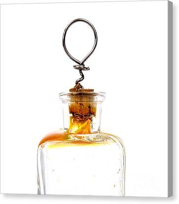 Old Glass Bottle With Cork Canvas Print by Bernard Jaubert