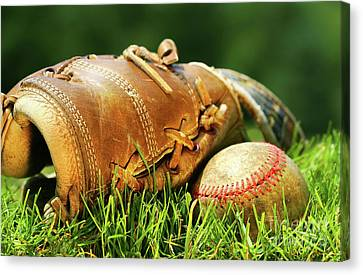 Old Glove And Baseball Canvas Print by Sandra Cunningham
