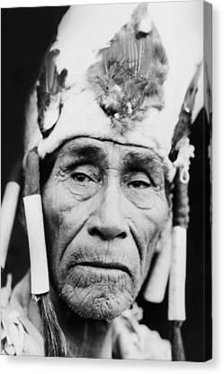 Old Klamath Man Circa 1923 Canvas Print by Aged Pixel