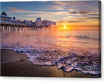 Old Orchard Beach Sea Smoke Canvas Print by Benjamin Williamson