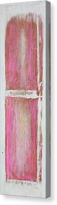 Old Pink Kitchen Door Emanating Light Canvas Print by Asha Carolyn Young