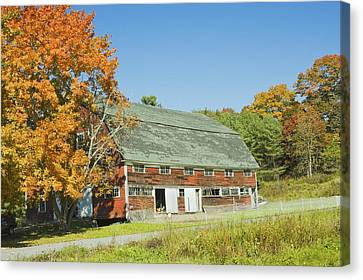 Old Red Barn In Maine Canvas Print by Keith Webber Jr