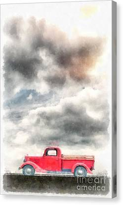 Old Red Ford Pickup Canvas Print by Edward Fielding