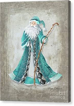 Old World Style Turquoise Aqua Teal Santa Claus Christmas Art By Megan Duncanson Canvas Print by Megan Duncanson