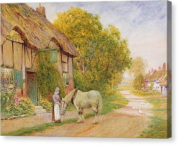Outside The Village Inn Canvas Print by Arthur Claude Strachan