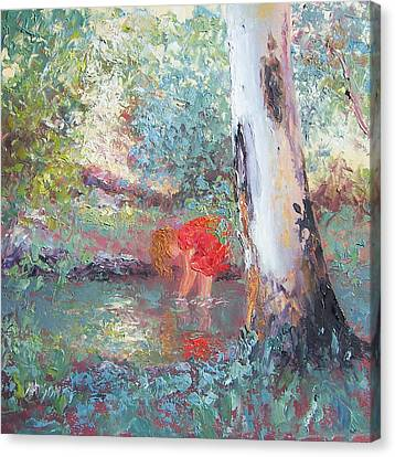 Paddling In The Creek Canvas Print by Jan Matson