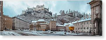 Panorama Of Salzburg In The Winter Canvas Print by Sabine Jacobs