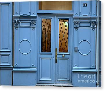 Paris Blue Door - Blue Aqua Romantic Doors Of Paris  - Parisian Doors And Architecture Canvas Print by Kathy Fornal