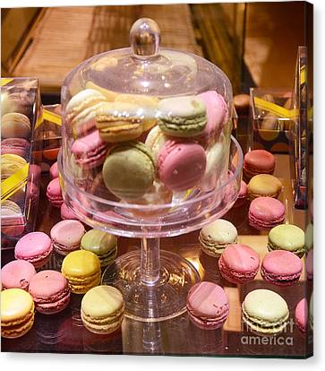 Paris Macarons And Patisserie Bakery - Paris Macarons Desserts Food Photography Canvas Print by Kathy Fornal