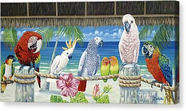 Parrots In Paradise Canvas Print by Danielle  Perry